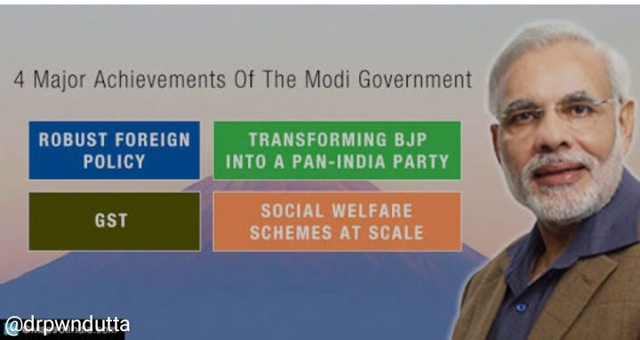 #WhyModi  Achievements of @narendramodi  Robust Foreign Policy : He has single-handedly created a respected space in the world order for India and himself. GST AADHAAR Social Welfare Schemes At Scale Like PMAY, PMJDY National Health Protection Scheme <br>http://pic.twitter.com/j9hLhuMHf2 &ndash; à Experience FAB Events