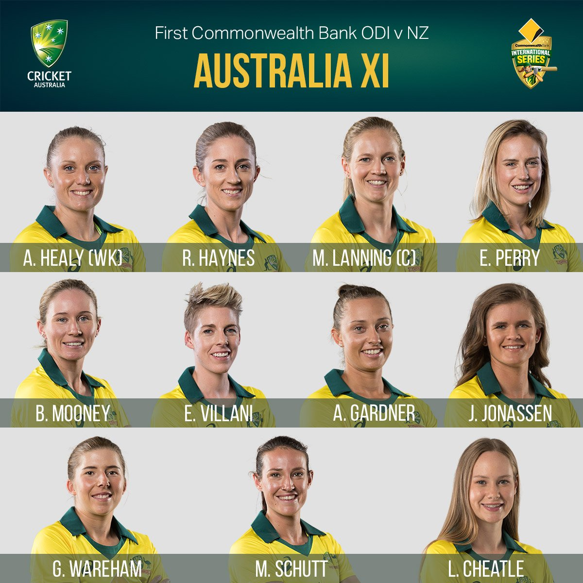 Here's the XI to take on the @WHITE_FERNS in the first ODI of the series!   Let's go team 💪 #AUSvNZ #WATCHME