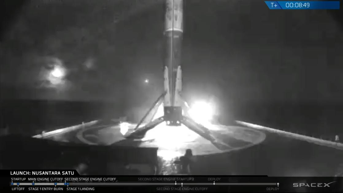 Falcon 9 first stage has landed on the Of Course I Still Love You droneship, completing this booster's third launch and landing.
