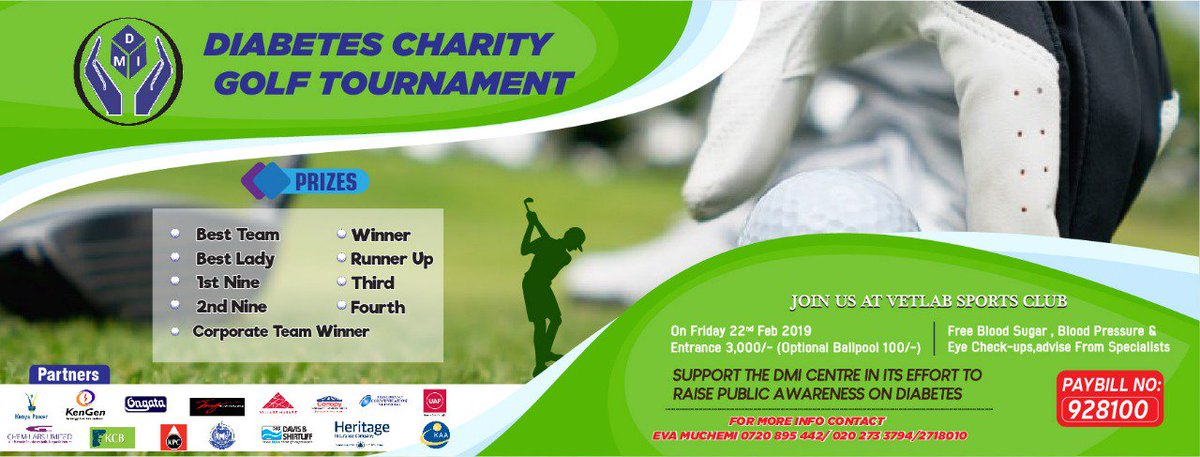 Today all roads lead to VETLAB Sports Club for #DMIDiabetesCharityGolf tournament. As you support us to raise awareness and educate people on #diabetes, there will be free Blood Sugar, Blood Pressure and Eye checks from specialists. #SpreadTheWord #Tagafriend #PartnerwithDMI<br>http://pic.twitter.com/Fh1WMA31oi