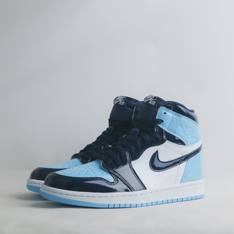 info for e86b0 a919e Size up to US 12 Nike W Air Jordan 1 High OG - UNC Patent Leather