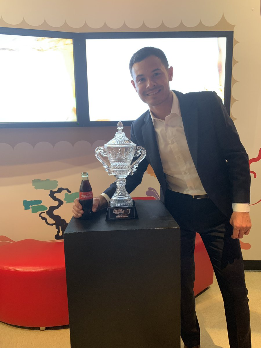 Thanks @CocaCola for hosting an awesome dinner tonight. Also thanks for the trophy from our Top Golf event our team won last year. I need to start winning more racing trophies though! It's been a while!! <br>http://pic.twitter.com/S32oITmBnK