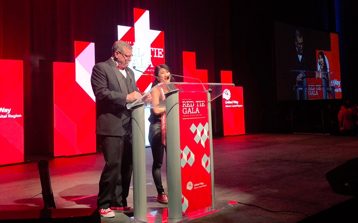 So proud of Sarah's three years of epic, committed leadership as co-chair of the United Way's campaign cabinet and for her tireless work to make poverty #UNIGNORABLE in #Yeg! #UWRedTie #EndPovertyYEG