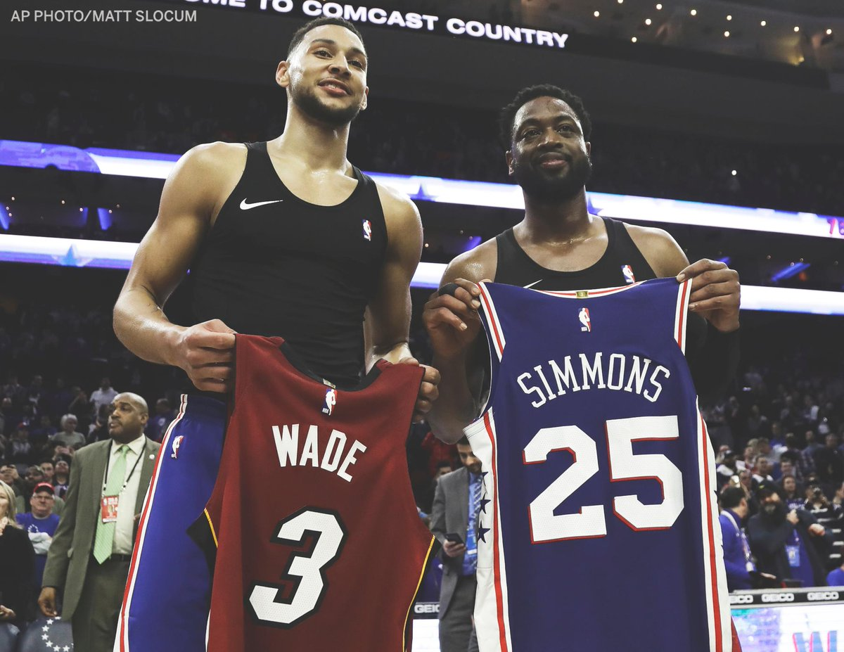 Ben Simmons and Dwyane Wade exchanged jerseys for D-Wade's final game in Philly. #OneLastDance