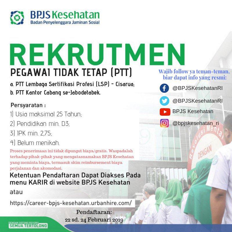 Pengumuman Rekrutmen Lowongan Kerja Pegawai PTT BPJS Kesehatan 2019