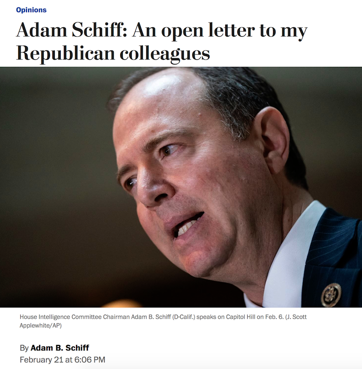 Adam Schiff to Republican colleagues: Many of you have acknowledged your deep misgivings about Trump in quiet conversations, bemoaned his lack of decency & inability to tell the truth [but] keep your rising alarm private. That must end. You must speak out. https://wapo.st/2Ism3yJ?tid=ss_tw&utm_term=.cff3d246f80a…