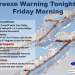 Image for the Tweet beginning: Freeze Warning in effect from