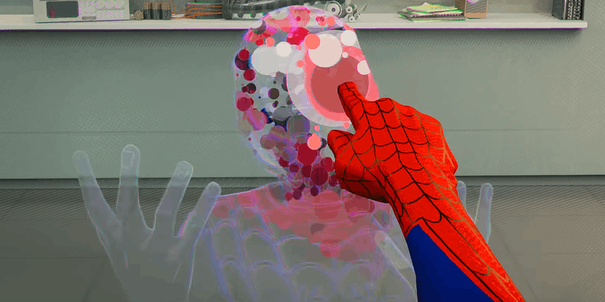 Our method of creating Miles&#39; invisibility was one of the most challenging effects to figure out in the film. Combining shaders, point cloud simulation &amp; comp, we explored a look that maintained our visual language using screen tones &amp; outlines. #SpiderVerse #IntoTheSpiderVerse<br>http://pic.twitter.com/qHiv3fQxh6