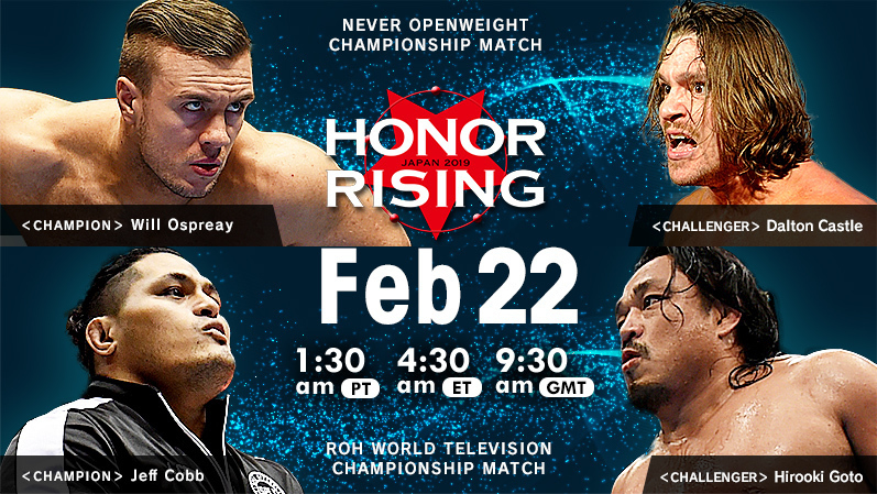 NJPW/ROH Honor Rising in 6 hours, live on NJPW World.   Taguchi, Yano &amp; Makabe vs Cabana, Delirious &amp; Cheeseburger for the NEVER 6-Man Title   Ospreay vs Castle for the NEVER Title   Cobb vs Goto for the ROH TV Title   Tanahashi, Okada and Lethal vs The Kingdom  #njROH #NJPW<br>http://pic.twitter.com/7tCiOPYRHQ
