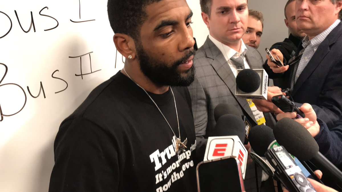 """Kyrie Irving's post-game attire is an NY Times shirt that says """"Truth: It's more important than ever."""""""