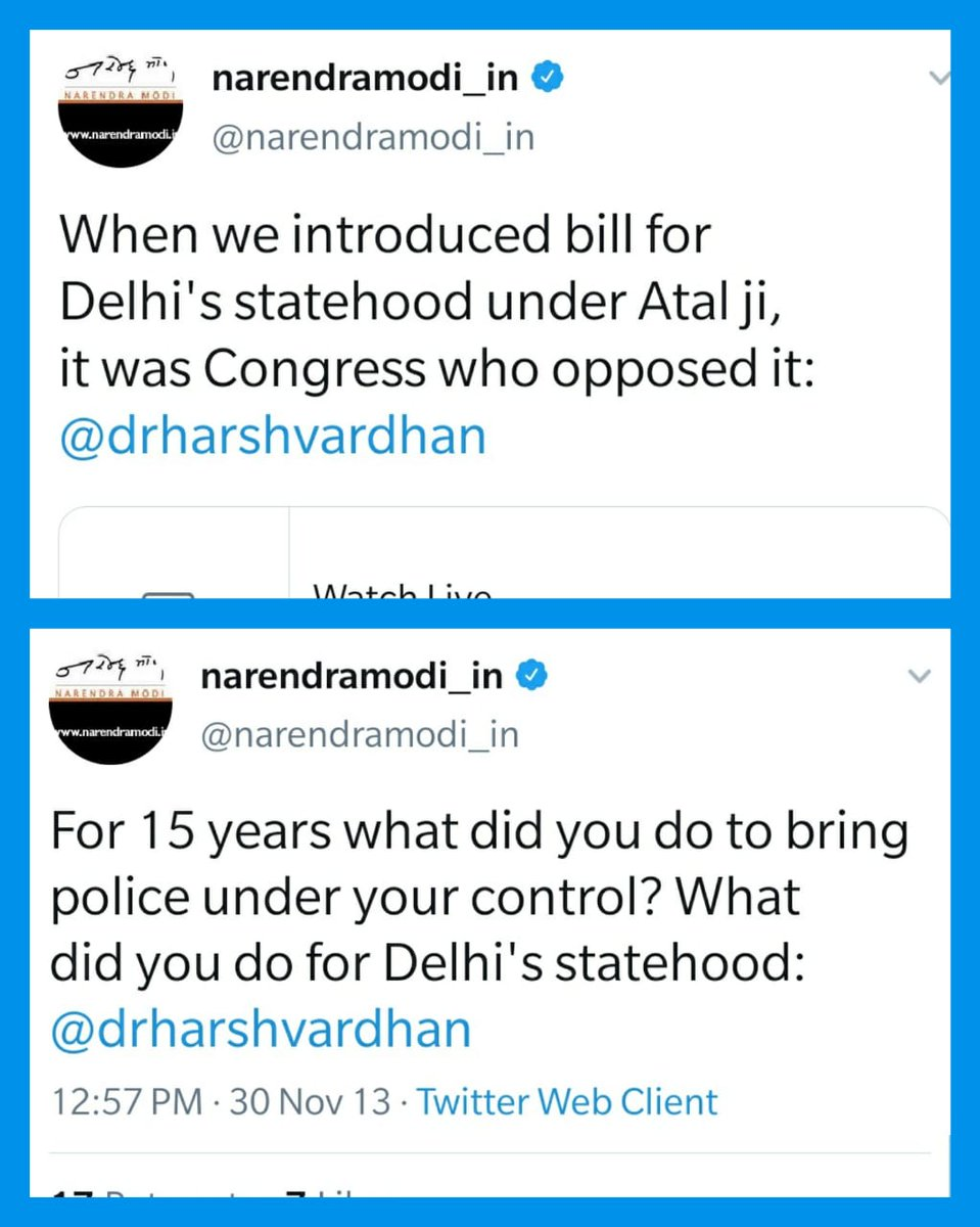 .@narendramodi ji, during 2013 assembly campaign, you were tweeting about Delhi's Statehood.  You talked about how the bill was introduced under Atal ji.  What have you done to complete what Atal ji started?   Delhi's people want Full Statehood and are waiting for your answer.