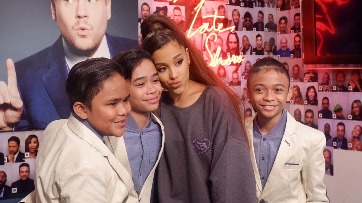 Is this even real? We sang with @ArianaGrande! 😭😭😭 Thank you @JKCorden for making this possible! 😍😍😍  #TNTBOYSxJAMESCORDEN #TNTBOYSxARIANA