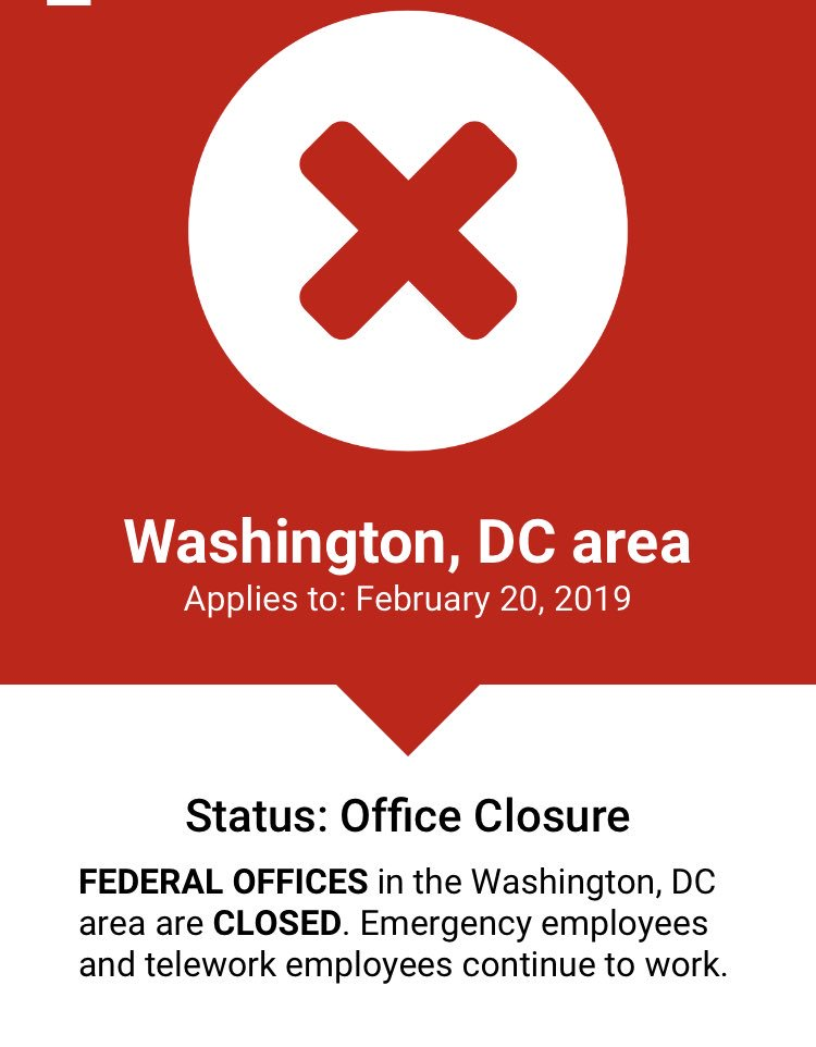 Federal offices in DC area CLOSED Weds 2/20  https:// wtop.com/closings-and-d elays/ &nbsp; …  #opm #dcwx <br>http://pic.twitter.com/5vAoeOos16