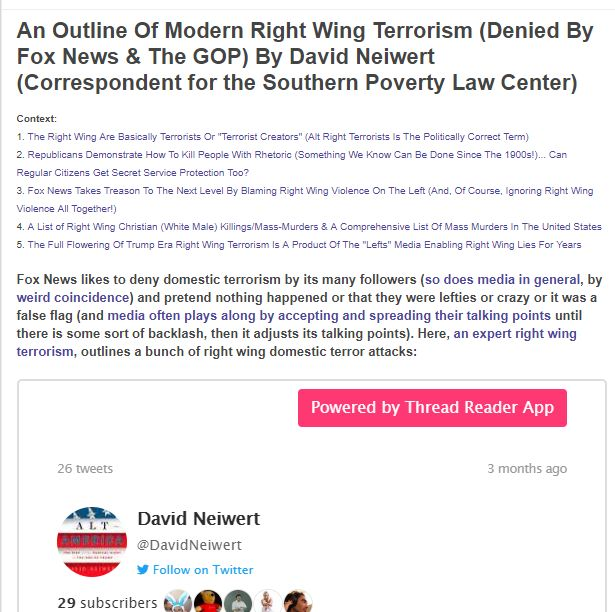 2 - The people don't know about the right wing terror epidemic inspired by right wing philosophy. Why? http://www.culturesocietyblog.com/2018/11/examples-of-right-wing-terrorism-denied.html…  #msnbc #nbc #hardball #inners #maddow #lastword #cnn #outfront #ac360 #cuomo #donlemon #foxnews #thestory #tucker #hannity #ingrahamangle