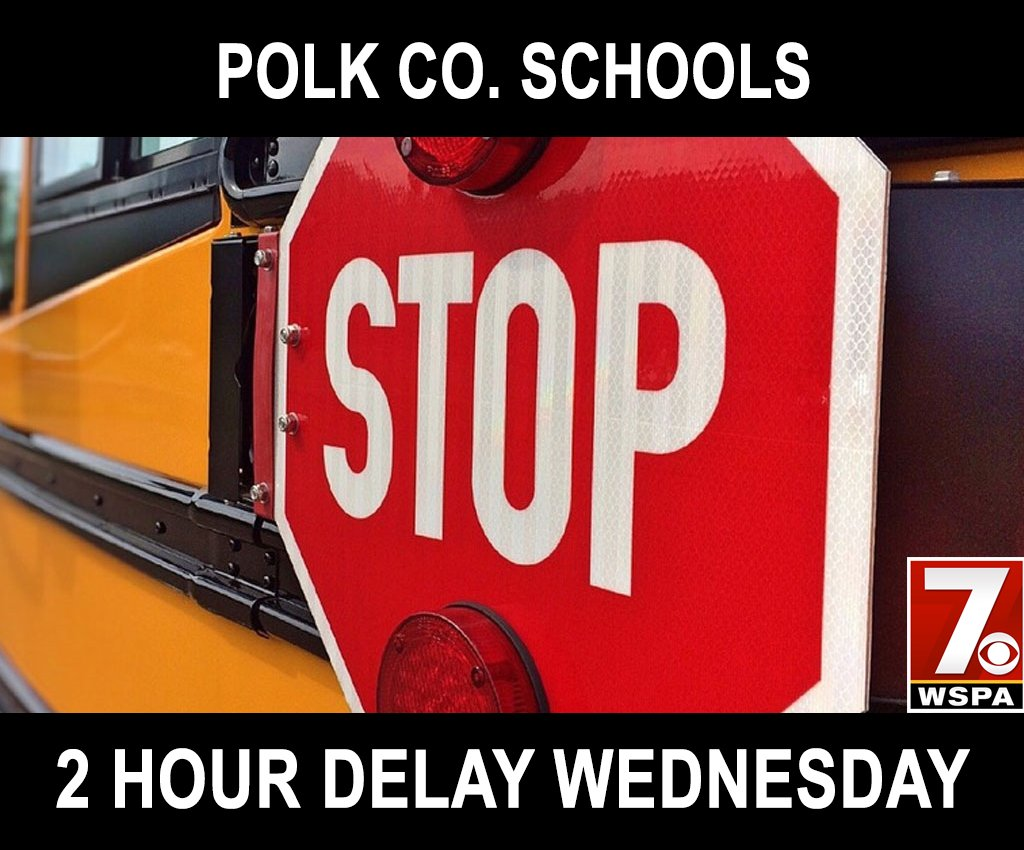 CLOSINGS & DELAYS: Polk County Schools will be on a 2-hour delay Wednesday. https://t.co/FIv5JwLCjj