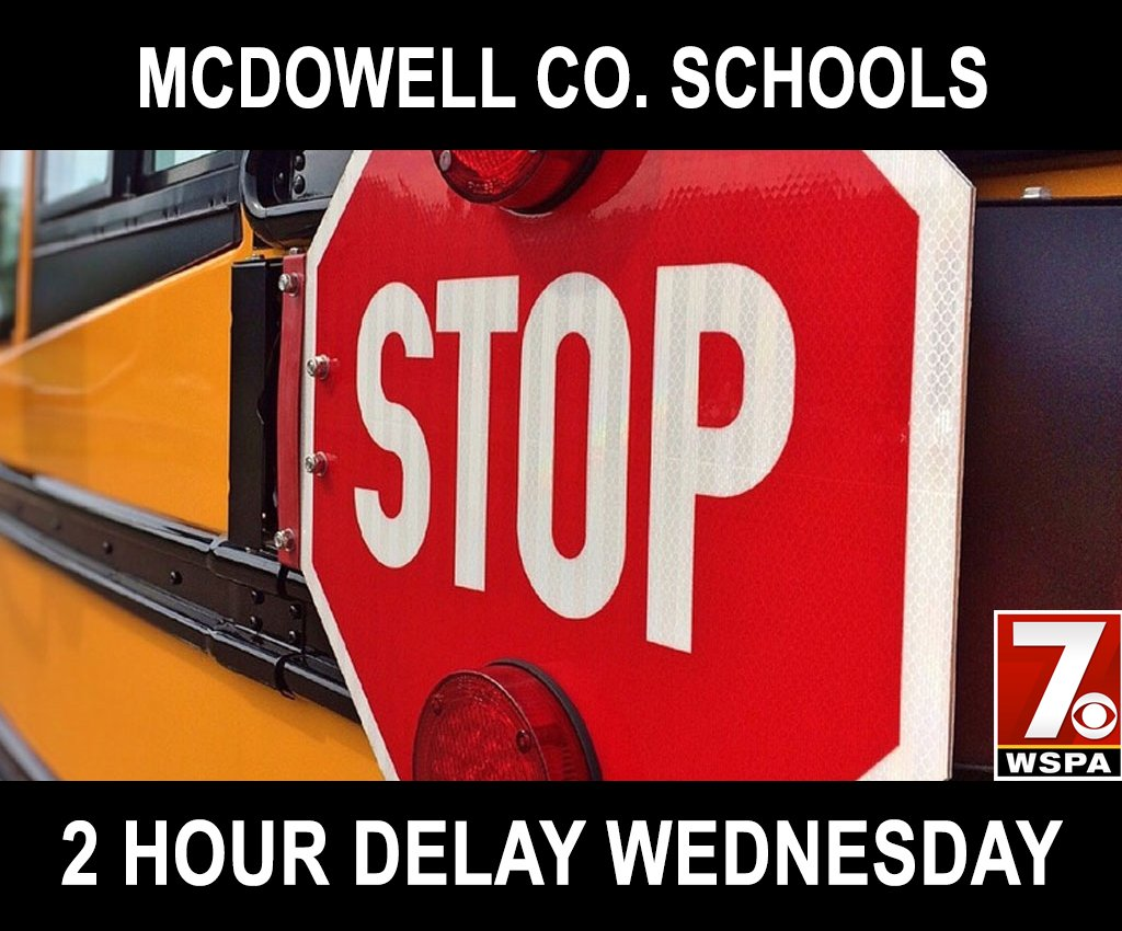 CLOSINGS & DELAYS: McDowell Co. Schools will be on a 2-hour delay Wednesday. https://t.co/whUPGQ8Te5