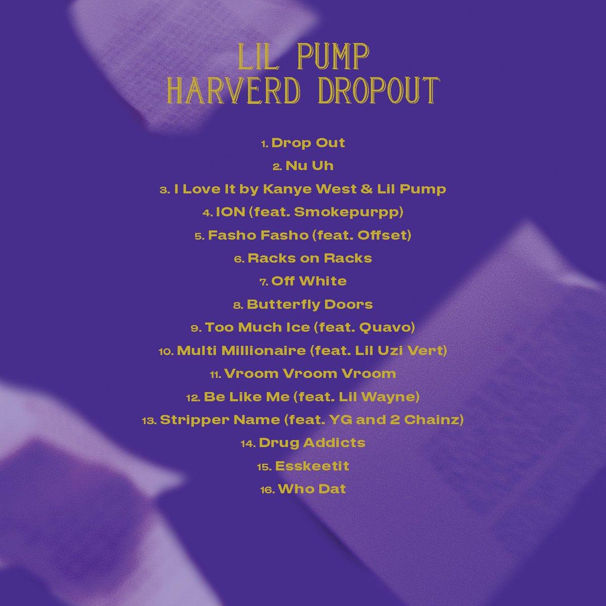 Image result for lil pump harvard dropout tracklist