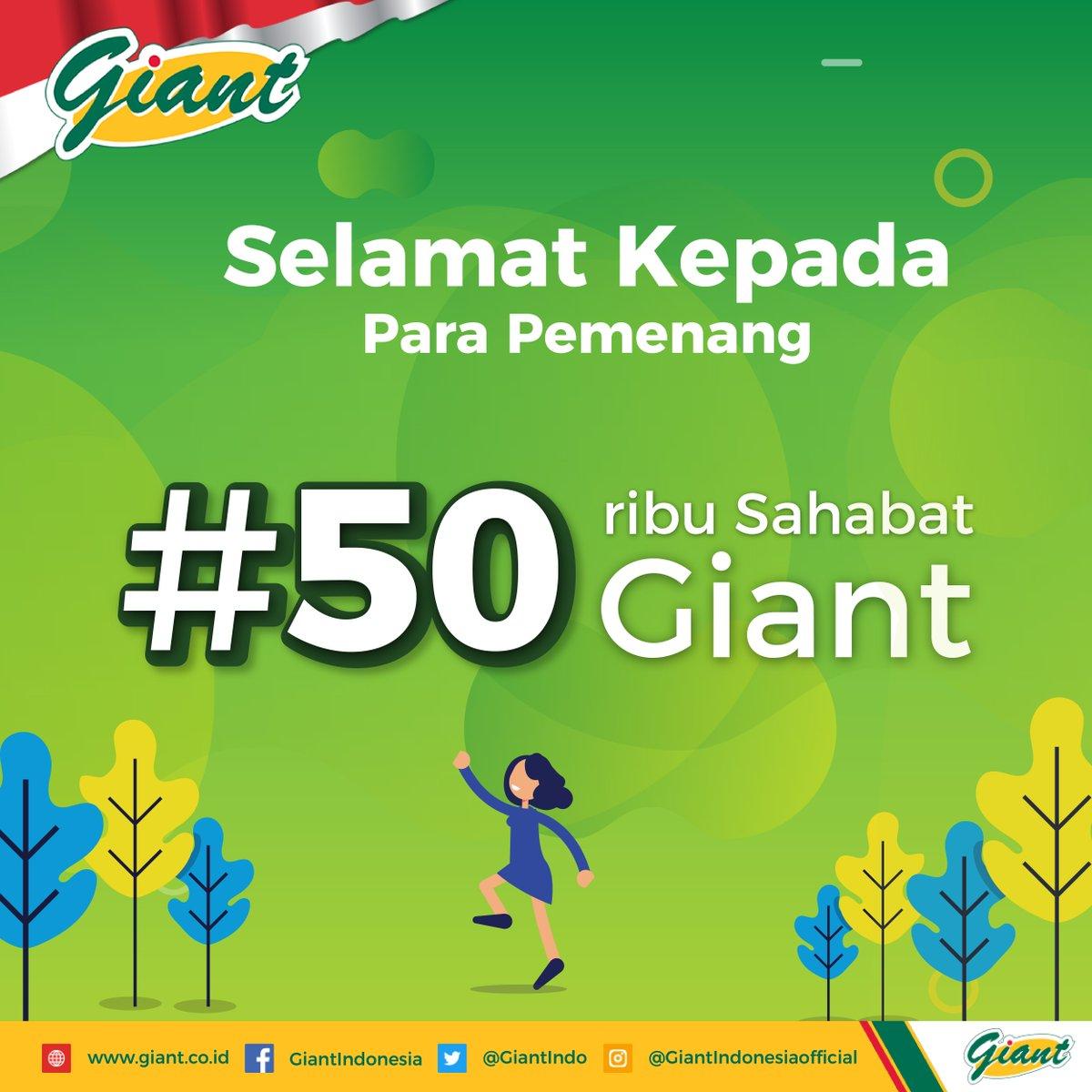 Terima kasih untuk semua Sahabat Giant yang telah berpartisipasi di #50RibuSahabatGiant!  Ini dia para pemenang kuis. Selamat buat para pemenang dan semangat buat yang belum! Pemenang akan dihubungi langsung oleh pihak Giant.  #KuisGiant #GiantIndonesia #GiantHargaMurahSetiapHari