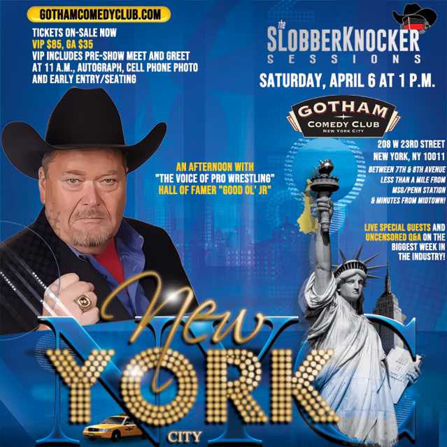 Watching #SDLive on the Road to #WrestleMania. Join me in NYC during the biggest week of the industry Sat. April 6 @GothamComedy minutes from MSG, hours prior to the big #NJPW #ROH  #G1SuperCard