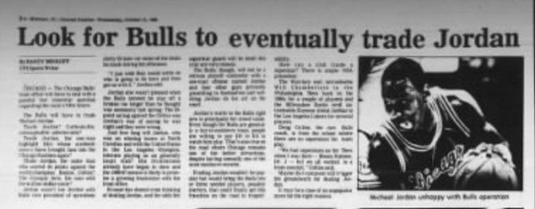 Writer says #Bulls should trade Michael Jordan (10/15/86)