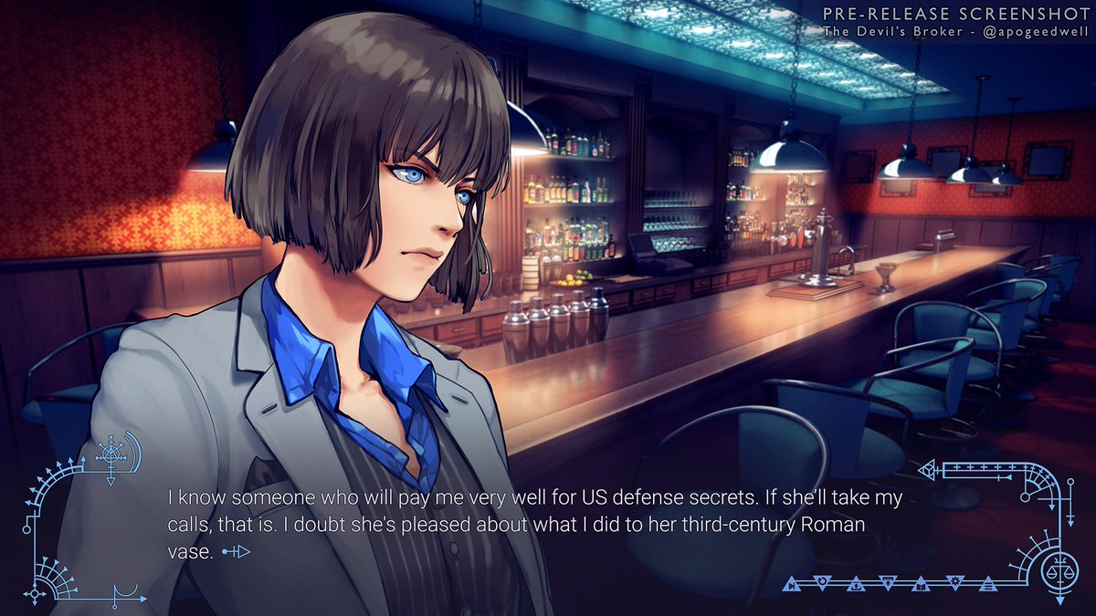 Hi! I&#39;m the lead dev (and BG artist) of the visual novel The Devil&#39;s Broker, a f/f action thriller. It&#39;s about a magic mercenary who stumbles into a conspiracy to steal an extraplanar government superweapon.  #VNLink #VisibleWomen #gamedev #indiedev <br>http://pic.twitter.com/o5I8J1llbI