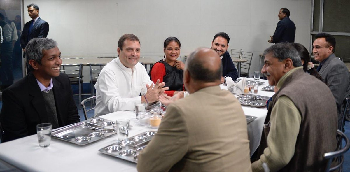 """""""Apni Baat Rahul ke sath""""  Congress President @RahulGandhi's intitiative, he met with small & micro business owners in delhi to understand their basic problems. He spent over 90 minutes listening to each of the entrepreneurs, over a South Indian thali lunch."""