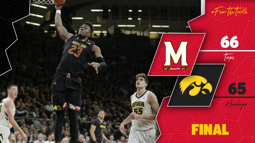#Terps Win!!!   Bruno's tip-in in the closing seconds seals the deal and the Terps knock off No. 21 Iowa!    #FearTheTurtle