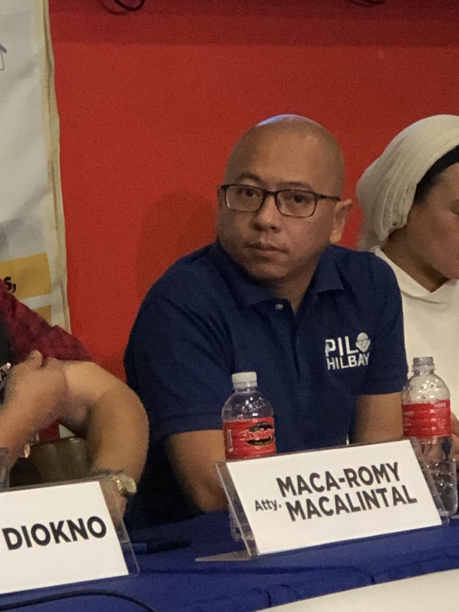 "@sandraguinaldo ""Takot siguro maresibohan sila."" - Former Solgen Pilo Hilbay, opposition senatorial candidate, said when asked about the absence of some Hugpong bets in debates. He noted that some candidates are facing serious issues such as corruption. 