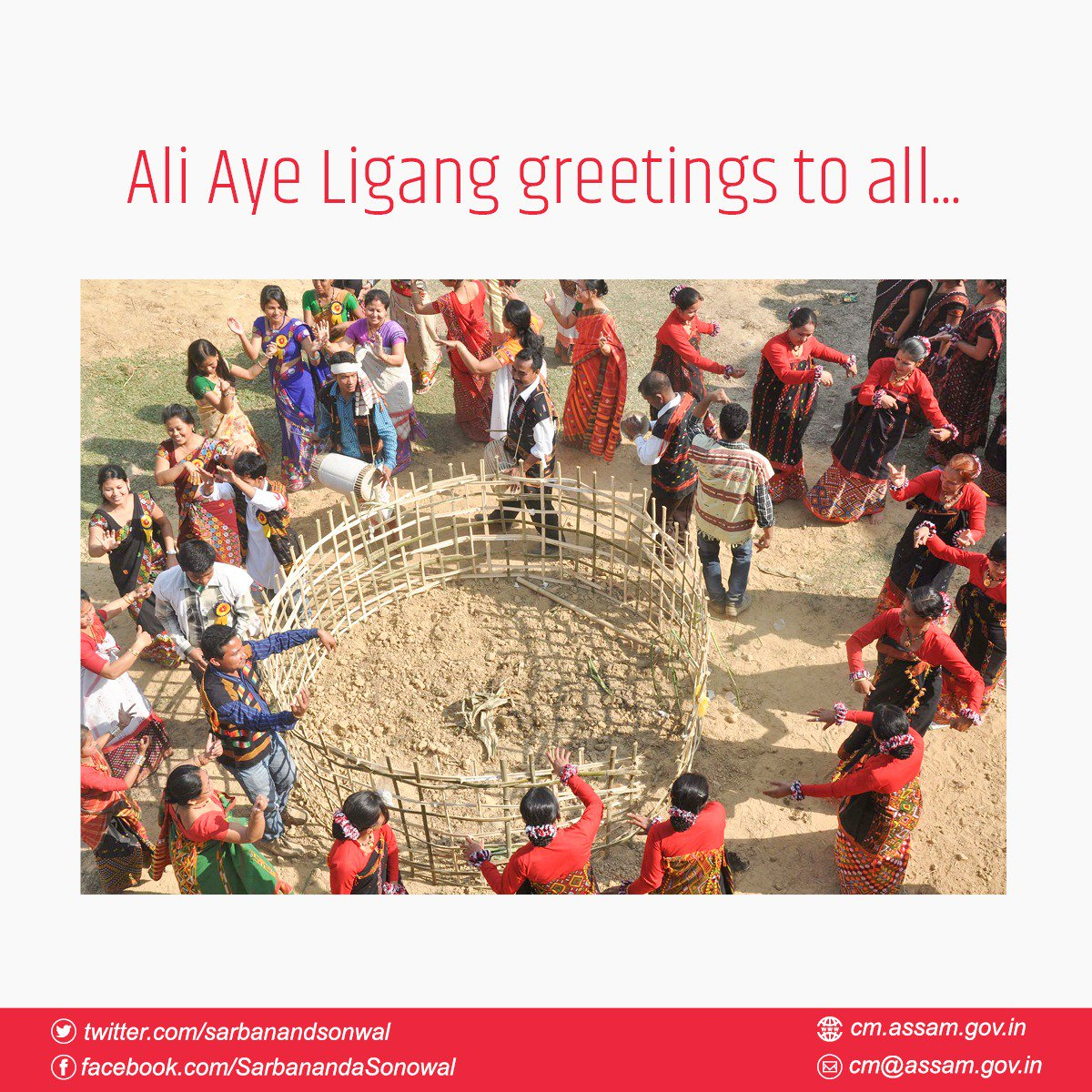Ali Aye Ligang greetings to my brothers and sisters of the Mising community. May the colourful rhythms of the Gumrag dance usher in prosperity, happiness and progress.