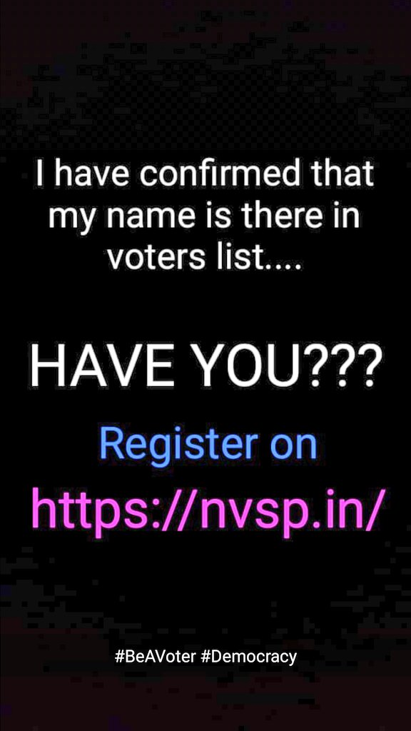 Nation First Voting Must !  #BeAVoter #NewIndia #Democracy  . . For Registration :  https:// nvsp.in / &nbsp;  <br>http://pic.twitter.com/hIrAwi66T7