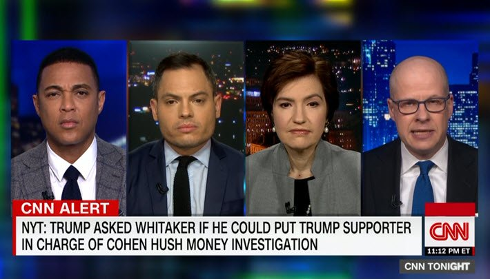 "Media: @MaxBoot to @donlemon: ""Just this weekend ... @realDonaldTrump was tweeting it's a witch hunt ... that Rod Rosenstein is guilty of treason and plotting a coup. ... He's not being successful in obstructing justice, but neither was Nixon, and Nixon was impeached for it."""