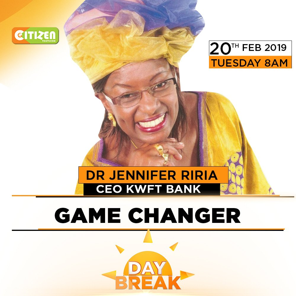 On #DayBreak we start a powerful segment ( Game Changers) that places Kenyans doing remarkable things in society on a pebblestone.   I earlier sat down with Dr @JenniferRiria CEO of KWFT Bank. Hear her story on @citizentvkenya.<br>http://pic.twitter.com/cf2gKKHoVe