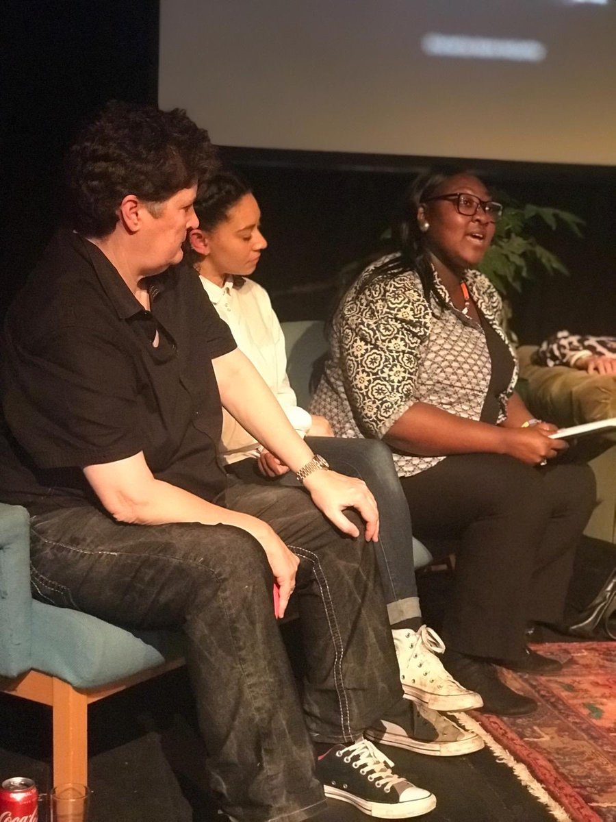 Honoured to speak on the @Omnibus_Theatre panel last night - alongside @MsLadyPhyll @mcashmanCBE @rebeccaroot1969 @Jan_Gooding & others. Here's me listening to Phyll's reading from #Sista Hope to hear more on @RadioDIVA104_4 soon!