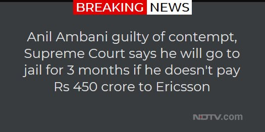 #AnilAmbani guilty of contempt, SC says he will go to jail if he doesn't pay 450cr to Ericsson.   But our #ChowkidarHiChorHai  thinks otherwise and gifted him 35000cr in the #RafaleScam