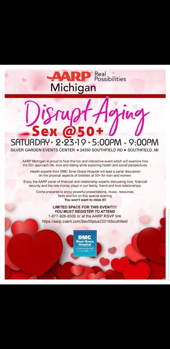 Join @AARPMichigan in partnership with @DMC_Heals Lets talk about #Sex  #financialsecurity #health & how they all relate!