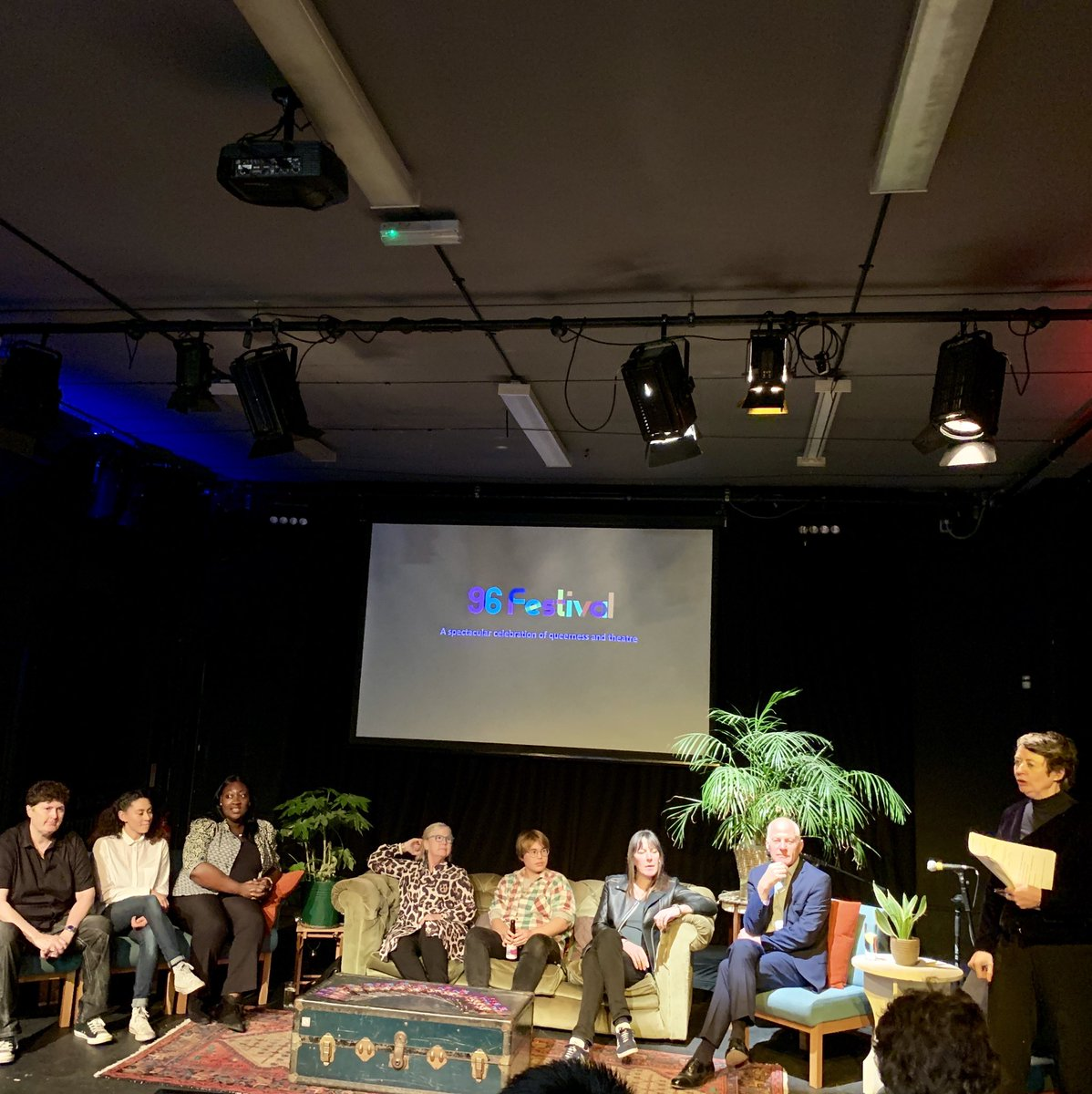 Launch #96Fest 🏳️🌈 last night @Omnibus_Theatre.   Great discussion led by @MarieMcCarthyAD with @MsLadyPhyll, @Jan_Gooding, @mcashmanCBE, @LindaRiley8, @zeus_japonicus, #CassieLeon and @rebeccaroot1969 🥳  More here - https://www.omnibus-clapham.org 😍