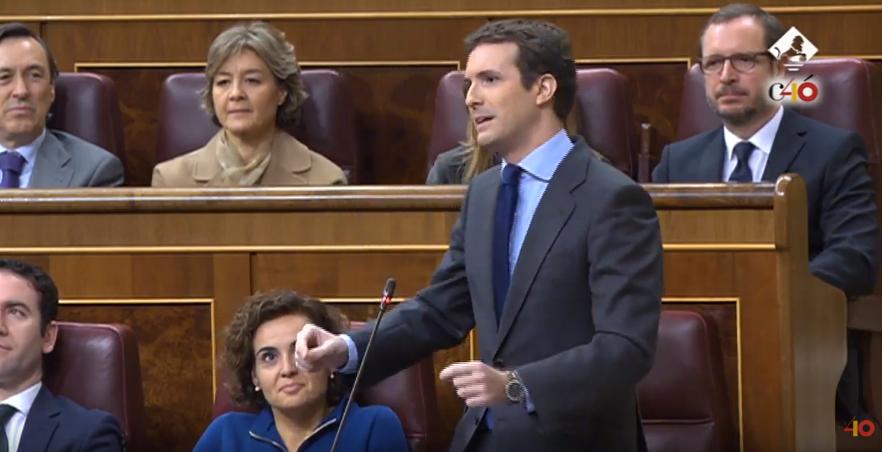 """.@pablocasado_ ha acusado a Pedro @sanchezcastejon de llevar """"2 meses sin aparecer por el Parlamento"""". Es FALSO. Sánchez estuvo presente durante le debate de Presupuestos. #factcheckingENDIRECTO"""