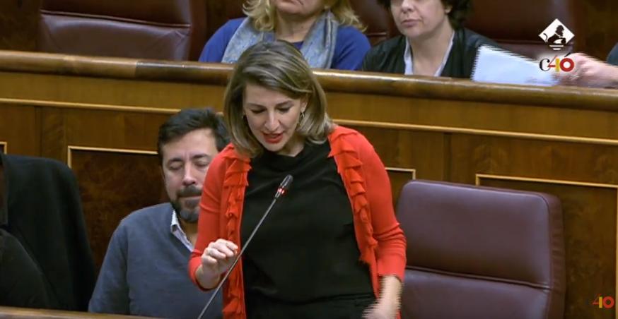 """.@Yolanda_Diaz_, en la sesión de control: """"Nos acaba de decir la OIT algo que ya sabíamos, que España es la campeona en temporalidad"""". Estamos verificándolo. #FactcheckingENDIRECTO"""