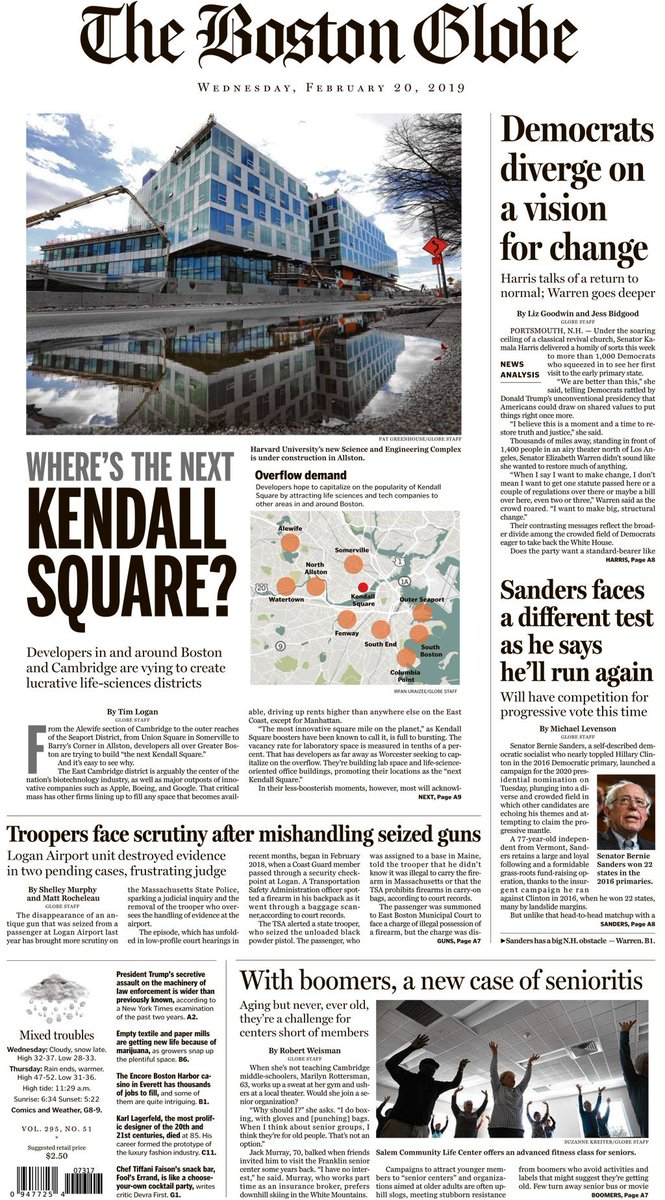Today's paper: Democrats diverge on a vision for change, Sanders faces a different test as he says he'll run again, With boomers, a new case of senioritis, more.  https://t.co/342e2YSU2i
