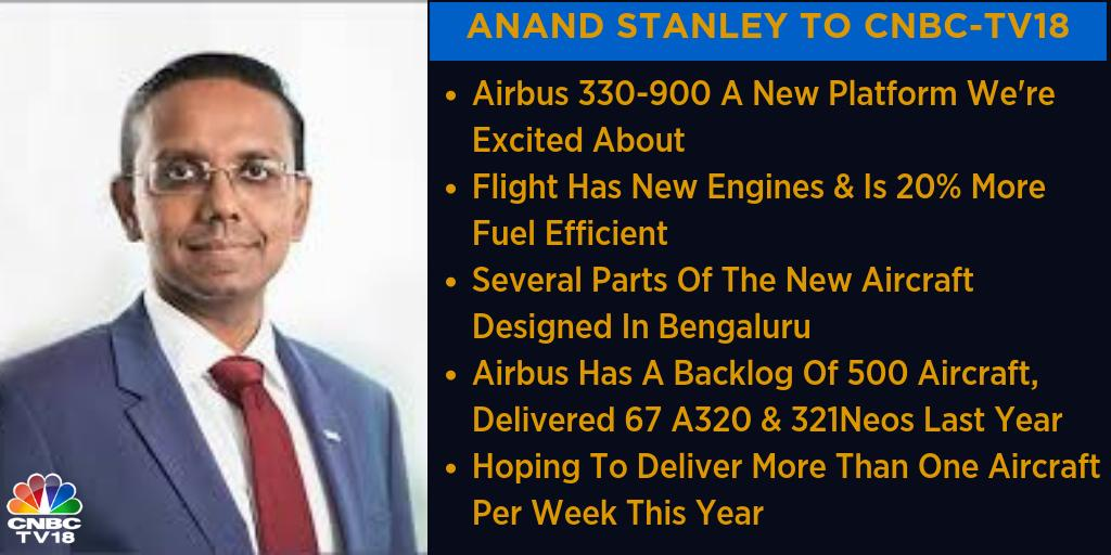 #AeroIndia2019 | Anand Stanley, President & MD of @Airbus India talks to CNBC-TV18, tell us that the company is excited about the new platform, Airbus 330-900 & are hoping to deliver more than one aircraft per week this year