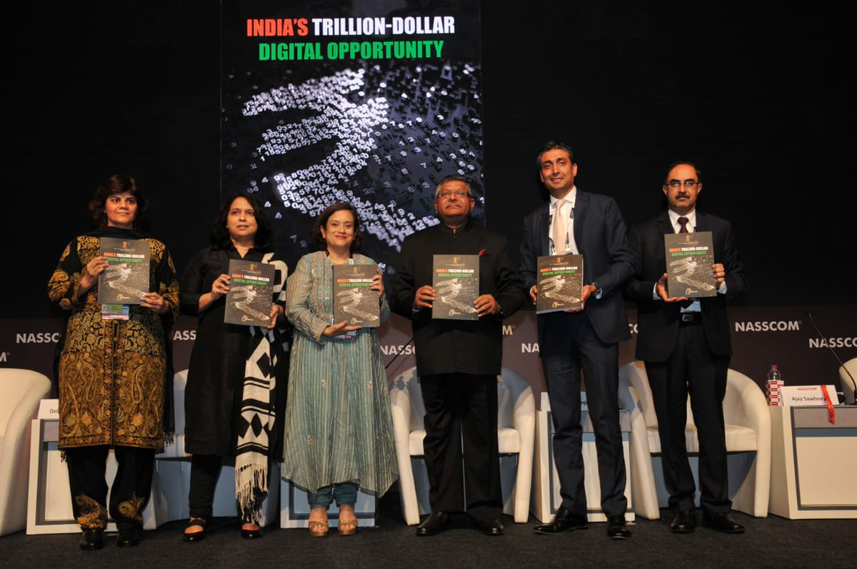 Union Min. @rsprasad releases @GoI_MeitY report on India's Trillion Dollar Digital Opportunity at #NASSCOM_TLF in Mumbai; the report says India can create up to $1 trillion of economic value from the digital economy by 2025 ▶️http://pib.nic.in/PressReleseDetail.aspx?PRID=1565669… #TrillionDollarDigitalEconomy