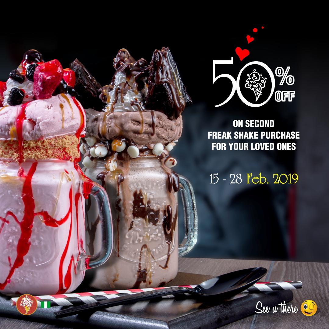 BREAKING!!! @coldstoneng is offering 50% offer off every second Freak shake purchase you make from the 15th – 28th February, 2019. Available in all Cold Stone Creamery Nigeria stores nationwide. #ColdstoneFreakDate