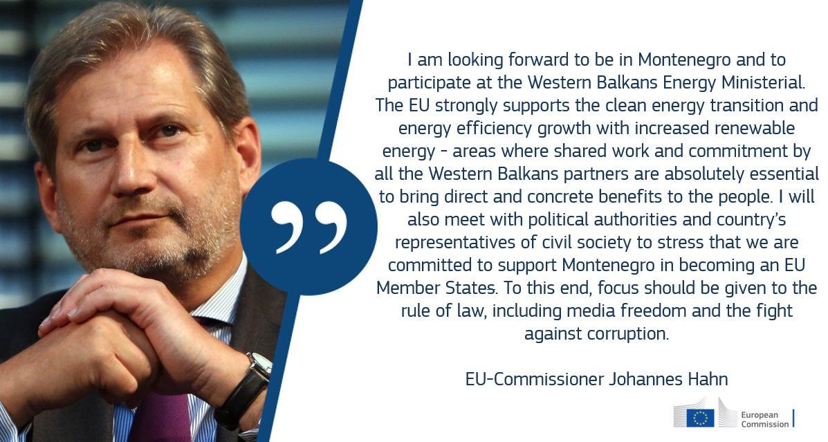 🇪🇺🇲🇪Evropski komesar za susedsku politiku i pregovore o pridruživanju Johanes Han sutra i prekosutra u poseti Crnoj Gori. Pročitajte više informacija 👇