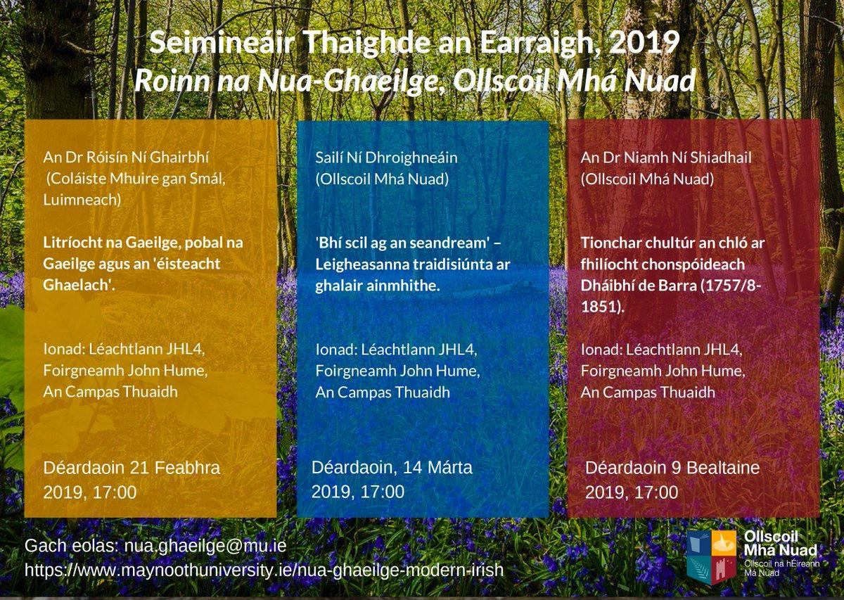 Seimineáir Thaighde an Earraigh, Ollscoil Mhá Nuad.  An Dr Róisín Ní Ghairbhí (CMGS) a bheas ag caint amárach ar  Litríocht na Gaeilge, pobal na Gaeilge agus an 'éisteacht Ghaelach'. Bígí linn! @RGhairbh @NuaGhaeilgeOMN @CuallachtMaNuad @MaynoothUni @MU_Research @library_MU