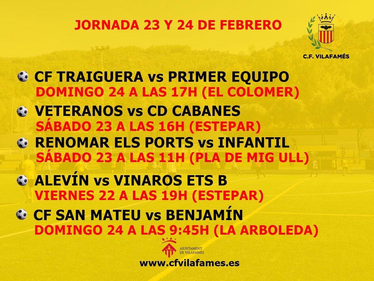 Agenda del CF Vilafamés.  Encuentros de la próxima jornada 23 y 24 de febrero.   #amuntvilafamés #cfvilafamés #ligacfv