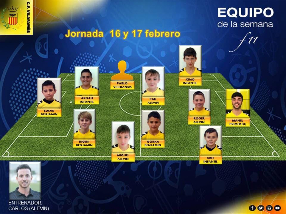 """""""Equipo de la semana CF Vilafamés.""""  Estos son los jugadores y técnicos destacados en el 11 ideal de la jornada del 16 y 17 de febrero.   ¡Enhorabuena! #amuntvilafamés #cfvilafamés #equipodelasemanacfv"""