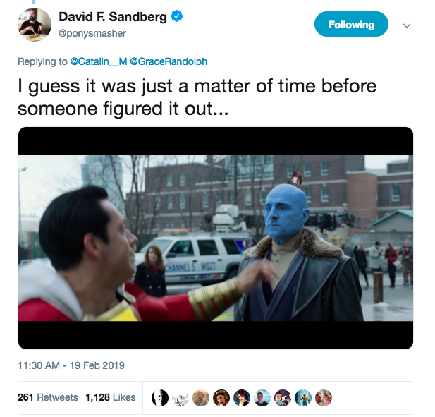 Who knows what other #Shazam secrets David F. Sandberg is hiding? 😂 https://t.co/yzydbGnhM2