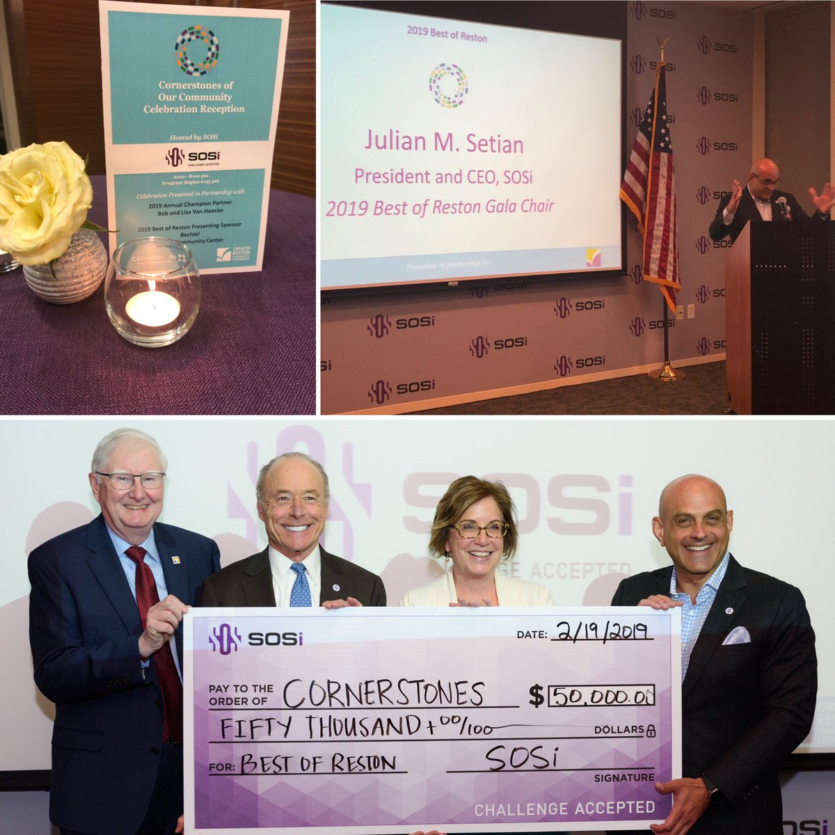 .@SOSi_HQ hosted the Cornerstones of Our Community Celebration Reception with @Cornerstonesva & @RestonChamber. At the reception, the #BestofRestonGala honorees were unveiled, and the Gala Chair, @SOSiCEO announced SOSi's $50k donation to Cornerstones for their vital mission.