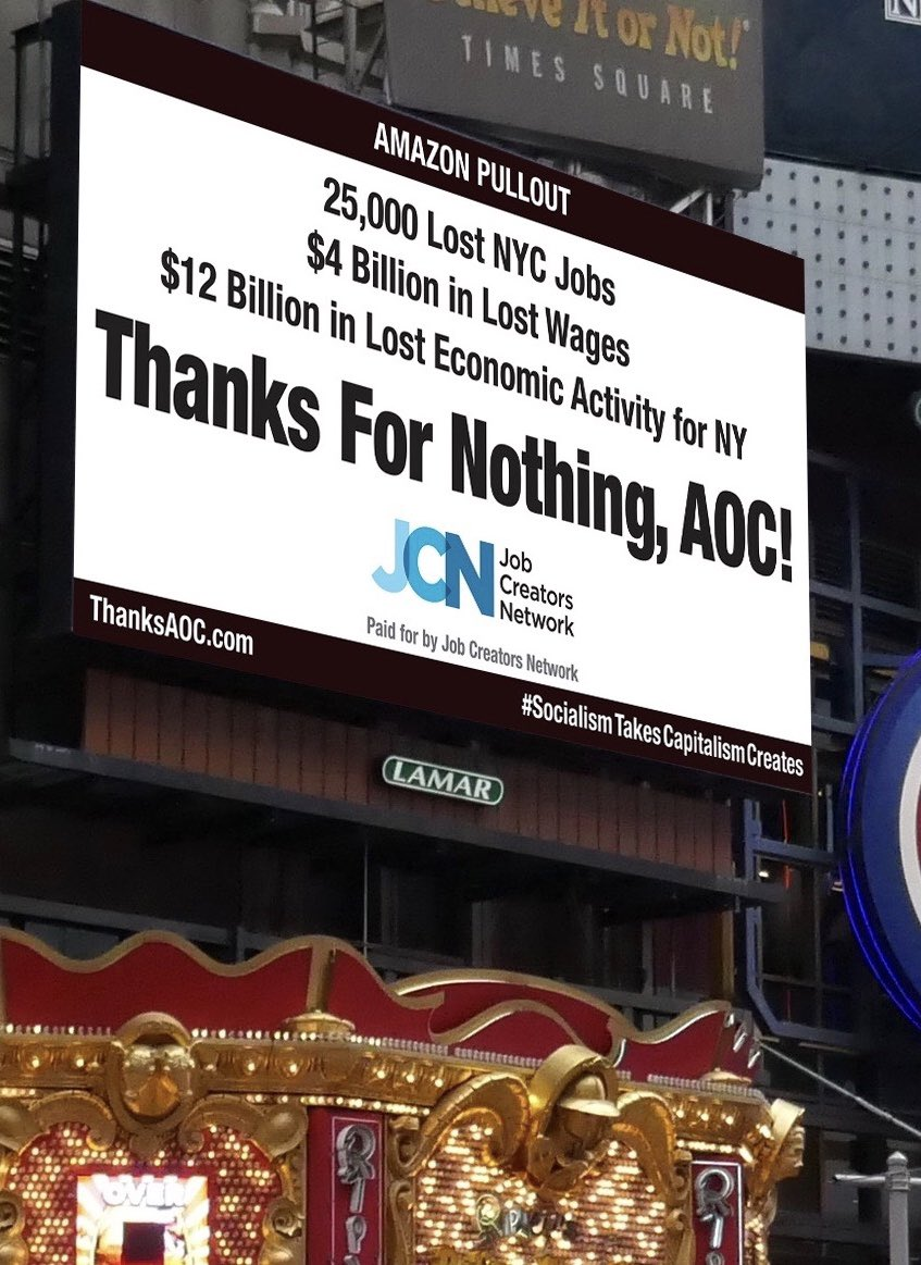 Large Times Square billboard ridicules Alexandria Ocasio-Cortez over major Amazon HQ withdrawal: 'Thanks for nothing!'