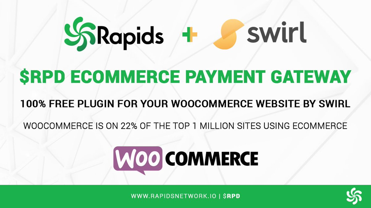We're excited to announce that #Rapids will be integrated with @SwirlPay, an #eCommerce payment gateway plugin for #WordPress &amp; #WooCommerce!    Grow your online business by accepting $RPD #crypto payments on your website    #CryptoNews #Altcoins  #CryptoTwitter #MassAdoption <br>http://pic.twitter.com/V1Hefiv6sq